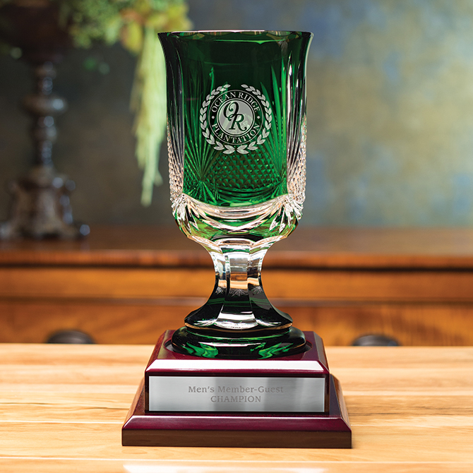 Martin Emerald Trophy Sterling Cut Glass