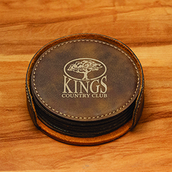 LEATHERETTE ROUND COASTER SET